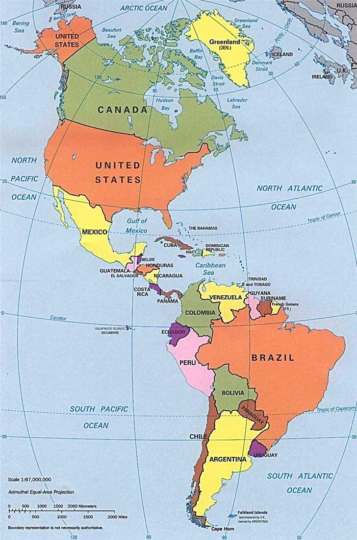 Mapa Político de las Américas